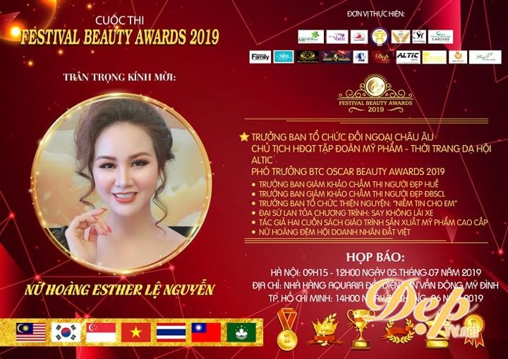 Nữ hoàng Esther Lệ Nguyễn đảm nhận vai trò Trưởng ban tổ chức Đối ngoại Châu Âu Festival Beauty Award 2019