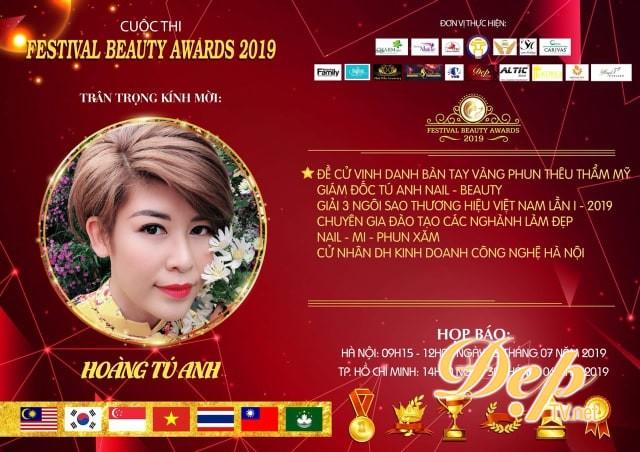 Chuyên gia Hoàng Tú Anh - Ứng cử viên sáng giá cho đề cử vinh danh Bàn Tay Vàng Phun thêu thẩm mỹ tại Festival Beauty Award 2019